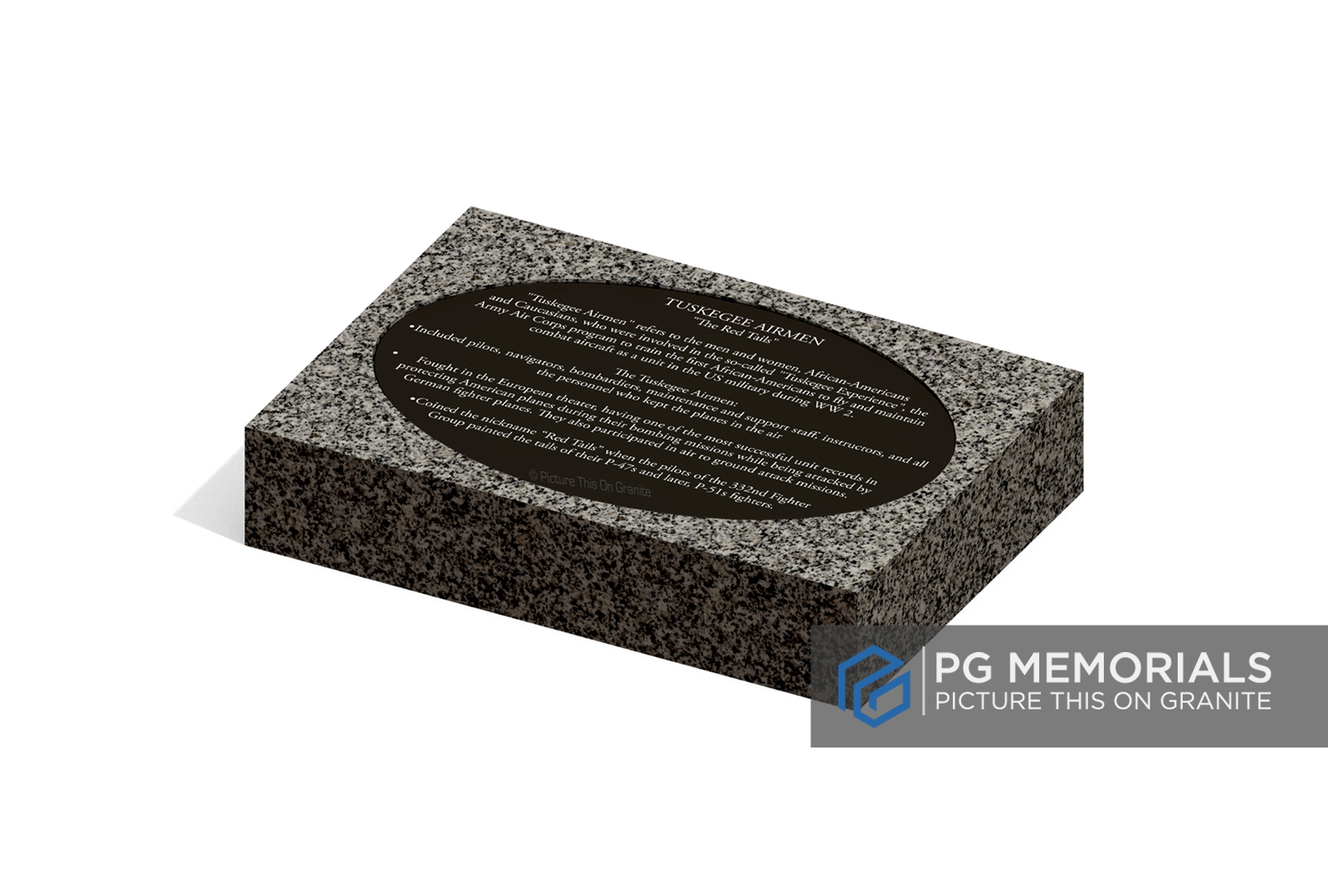 Oval Inlay Marker | Grey Granite with Black Granite